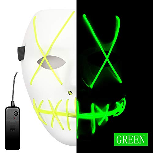 AnseeDirect Mascaras Carnaval Purga Mascara Led Cosplay Disfraz Máscara Terror El Wire Light Up Power Purge Mask para Fiestas Festival Fiesta De Disfraces Navidad