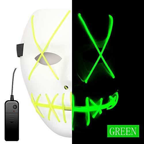 AnseeDirect Maschera Halloween LED Purge Mask Cosplay LED Costume Maschera Horror con El Wire Light Up Mask per Vacanze Party Halloween Idea Regalo