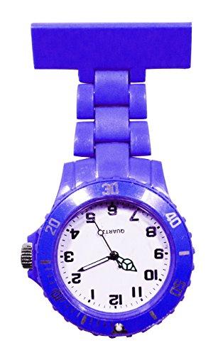 Ellemka JCM-2102 - Reloj Enfermera Fob de Bolsillo Clip Médico Medicina y Enfermería Analógico Funcional Cuidado-s Hospitalario-s Quarz Cuarzo Correa Estilo Color Azul Oscuro