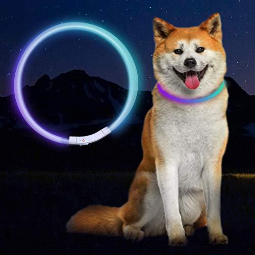 LED Leuchthalsband Hunde Halsband, Halsband Hund Leuchtend USB Wiederaufladbar Blinkhalsband Längenverstellbarer 70 cm Haustier Sicherheit Kragen mit DREI Beleuchtungsmodi für Hunde und Katzen