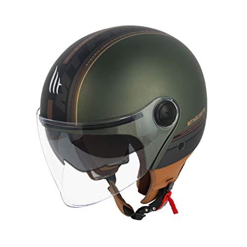 ZJJ Helm- Doppelschichtlinse, Unisex-Regen- und UV-Schutzhelm, elektrischer Motorradhelm (Farbe : Dunkelgrün, größe : L)