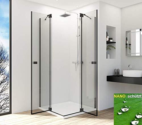 Duschkabine Eckeinstieg 80x100cm Duschabtrennung Duschwand Glas Duschtür Schwingtür Pendeltür, Duschkabinen Schwarz 6 mm ESG Sicherheitsglas mit Nano-Beschichtung Höhe 190cm