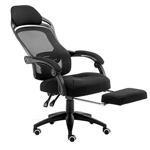 Ergonomic Office Chair High Back Mesh Desk Chair with Arm Rests Computer Chair Height Adjustable and Head Support (Color : Black)