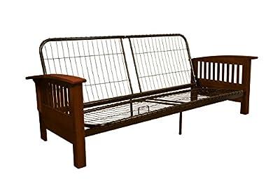 Epic Furnishings Brentwood Futon Sofa Sleeper Bed Frame, Full, Walnut