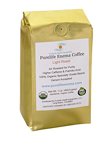 "Purelife Enema Coffee - Organic - Light""Air"" Roast - Ground - Mold & Fungus Free -1 Lb - Gerson Accepted"