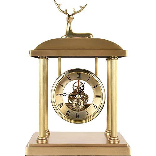 NOBGP Mantel Reloj de Vidrio silencioso Escritorio Reloj de la batería de la Chimenea del Manto pequeño Ciervo Reloj de Mesa con números árabes para Sala de Estar Oficina Cocina Estante hogar Regalo