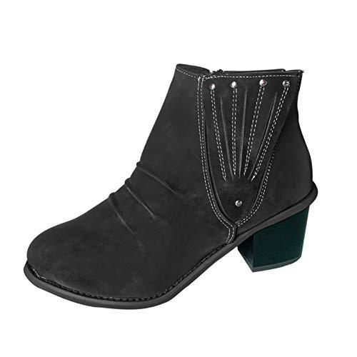 HHHG Botas de tobillo cortas romanas para mujer, zapatos de cuero con cremallera lateral, zapatos casuales de invierno, Negro (01 Black), 39 EU