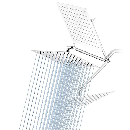 High Pressure Shower Head Chrome GGStudy 8 Inches Square Rain Showerhead with 11 Inches Adjustable Extension Arm Stainless SteelUltra Thin Rainfall Bath Shower with Silicone Nozzle Easy to Install
