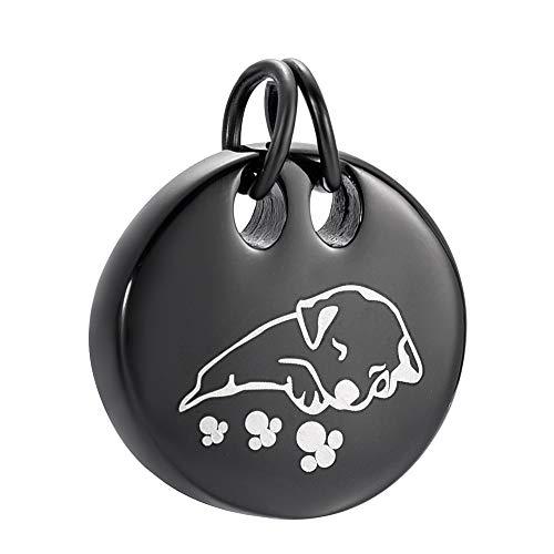 TIANZXS Collar con Colgante de urna de cremación de Acero Inoxidable con Grabado de Pata de Perro para Cenizas de Perro Negro