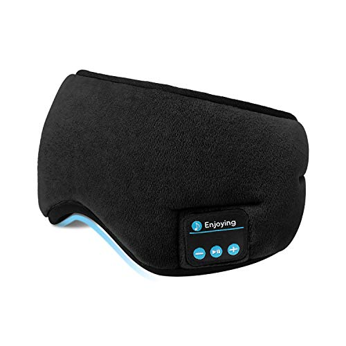 Bluetooth Sleeping Eye Mask Headphones,SKYEOL 5.0 Wireless Bluetooth Headphones Adjustable&Washable Music Travel Sleeping Headset with Built-in Speakers Microphone Hands-Free for Sleeping (Black)