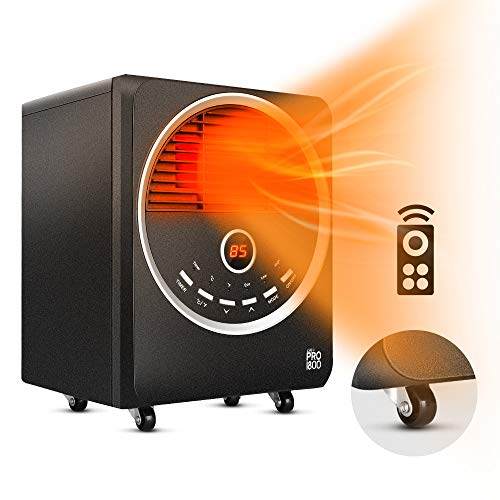 Space Heater -1500W Portable Heater with 4 wheels, 3 Heating Modes, Tip-Over and Overheat Protection, Quiet, Timer, Adjustable Thermostat, Remote Control Electric Heater for Warming Up the Home/Office Heater Infrared Space