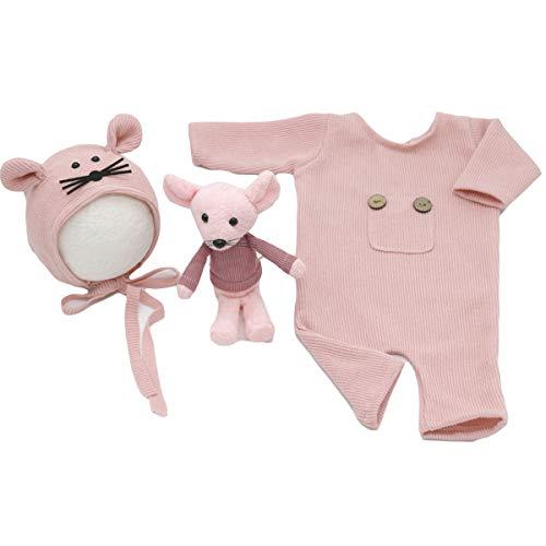3Pcs Neugeborenen Fotografie Requisiten Set Gestrickt Säugling Foto Strampler Hut Ratte Puppe Foto Requisiten Rosa