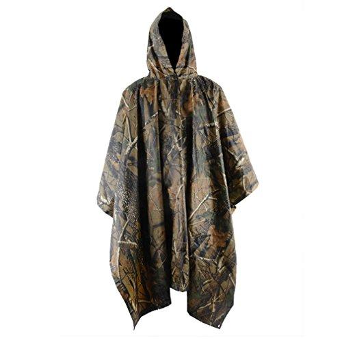 Zerone Poncho impermeable para lluvia, multifunción, con capucha, con capucha, poncho de camuflaje militar, con bolsa de transporte, para caza, camping, militar, color Hojas de arce camuflaje