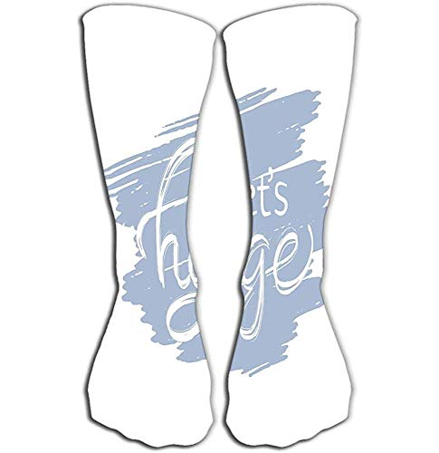 NGMADOIAN Hohe Socken Hygge Schriftzug Hygge Lifestyleer Banner Logo Symbol Grußkarte Promo dänische Glück Illustration Hygge Fliesenlänge 19,7 '(50cm)