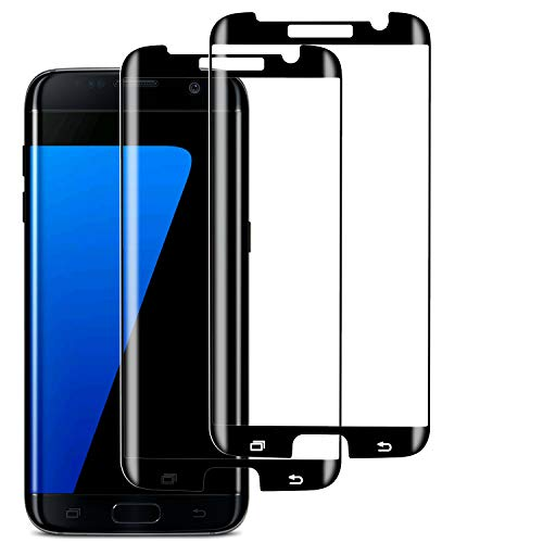 S7 Edge Screen Protector (2 Pack), Case-friendly Tempered Glass,9H Hardness,HD Clear Glass for Samsung Galaxy S7 Edge(Black).