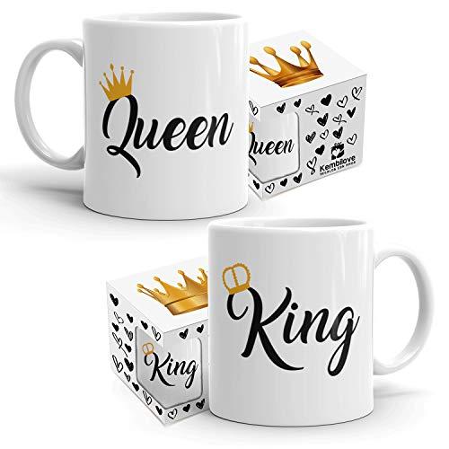 Kembilove Pack de 2 Tazas Parejas - Tazas de Regalo King & Queen para
