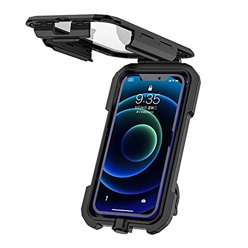 TOPRUI Porta Cellulare Moto, Universale Porta Telefono per Moto e Biciclette Impermeabile Antipolvere e Antiurto con Rotazione a 360° Toccare ID Viso ID Compatibile con Smartphone da 4,5 a 6,8  Nero