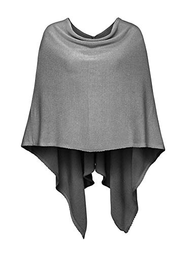Cashmere Dreams Poncho-Schal aus Baumwolle - Hochwertiges Cape für Damen - Umhängetuch und Tunika - Strick-Pullover - Sweatshirt - Stola für Sommer und Winter Zwillingsherz,Einheitsgröße,Dunkelgrau