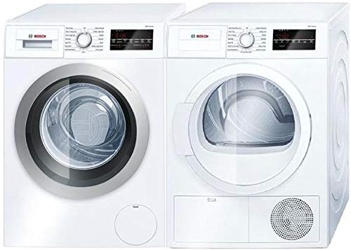Bosch Front Load Compact WAT28401UC 24' Washer with WTG86400UC 24' Electric Dryer Laundry Pair in White