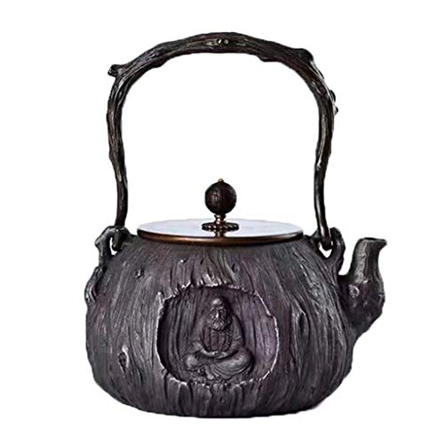 DTH Teekanne Antike Gusseisen Tetsubin Baum Streifen Japanische Teekanne Gusseisen Teekanne - 1.4L Handgefertigt, Teekanne, a