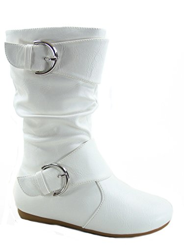 Link Klein-80k Girl's Kid's Cute Faux Leather Two Buckle Zipper Flat Heel Mid Calf Boot Shoes (12 B(M) US, White)