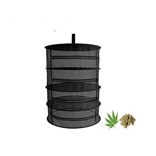 4 Capa de Malla para Colgar Red de Secado Malla Secado Hierbas Aromáticas con Cremalleras, Bolsa de Transporte Incluida, Negro