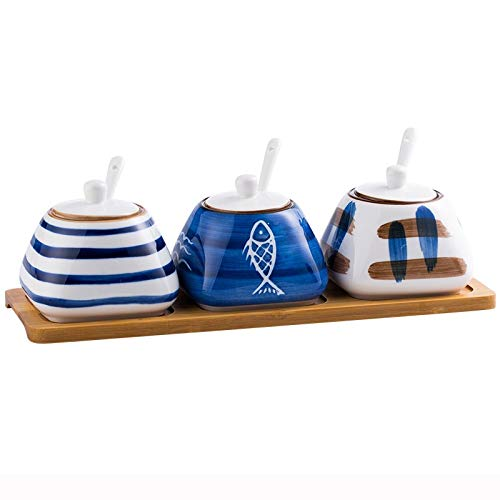 ZLDGYG Tarro de condimento de cerámica Caja de condimento de Cocina Creativa combinación de Tres Piezas, con Base de bambú