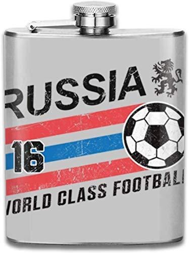 Euro 2016 Fußball Russland Ball grau Print Flachmann Taschenflasche Flagon 200 ml tragbar Edelstahl Flagon