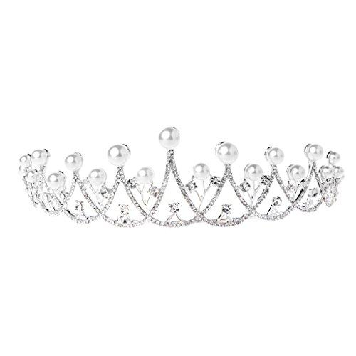 Qiuxiaoaa Haarkronen Für Zöpfe-Shiny Faux Perle Prinzessin Crown Stirnband Strass Hochzeit Tiara Braut Prom