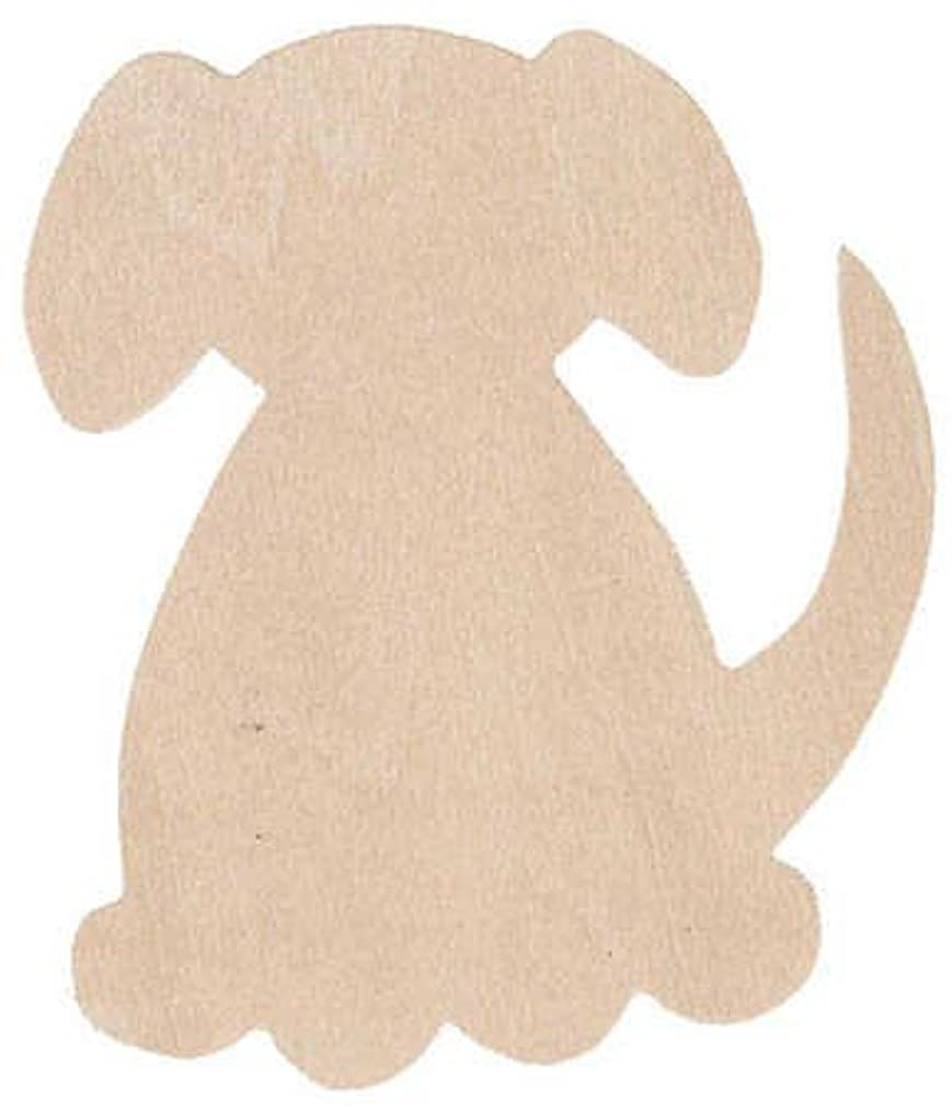 Group of 12 Unfinished Wood Dog Flat Cutouts for Spring Crafts, Creating and Embellishing