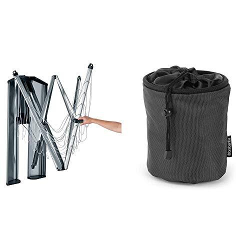 Brabantia 475924 Tendedero de Ropa Plegable de Pared Wallfix, con Caja de Almacenamiento en Acero, 24 Metros de Cuerda, Color Gris Metalizado, Aluminio + Bolsa para Pinzas, Negro, 0 cm