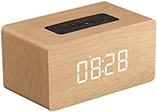 Nrpfell Portable Wooden Bluetooth Speaker Touch Clock Wireless Bluetooth Speakers(Yellow)