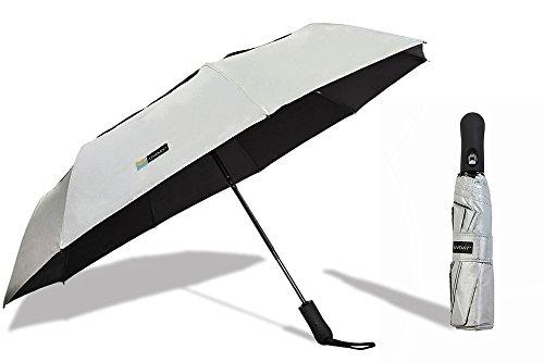 UVDAY Auto Open Close UV Protection Travel Compact Folding Sun Umbrella UPF50+ (23 inches, Silver)
