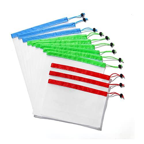 QXLG Bolsa de vacío 12 unids Malla Reutilizable Producir Bolsas Lavable Eco Bolsos Compras Bolsas para Compras de comestibles Almacenamiento Fruta Vegetal Juguetes Bolsas de Almacenamiento