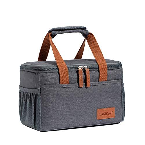 LAKIDAY Kühltasche Lunchtasche Damen Herren Kinder Thermotasche Wiederverwendbare Lunch Taschen für Arbeit, Picknick, Wandern, Ausflügen, Angeln(Dunkel Grau-1)