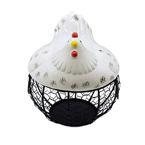Panier à œufs en métal avec couvercle en céramique en forme de poule
