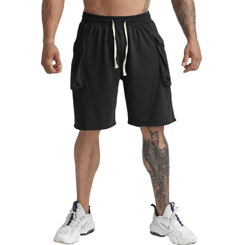Shorts de Sport Coton Musculation d'entraînement Bermudas Homme Noir M