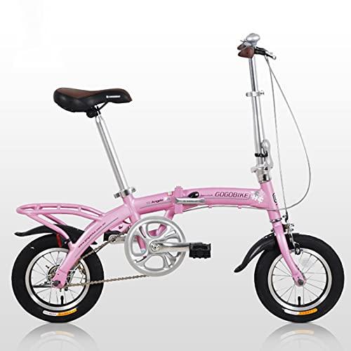 ZXQZ Bicicleta Al Aire Libre, Bicicleta Plegable de 12 Pulgadas, Marco de Aleación Ligera, para City Commuter para Estudiantes Trabajadores de Oficina, Entusiastas del Ciclismo (Color : Pink)
