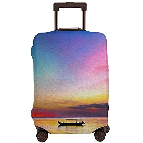 Cubierta de equipaje de viaje Sunset Boat Sea Artwork Maleta Protector lavable Maleta