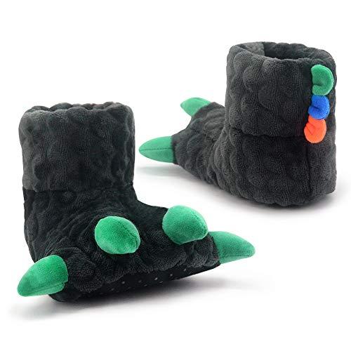 Dream Bridge Zapatillas de Garra de Dinosaurio, Zapatillas de Casa de Felpa Suave, Zapatos de Interior Suaves y Cálidos para Niños con Puntos de Pellizco Antideslizantes Gris
