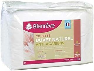 BLANREVE Couette Naturelle Duvet Percale de Coton - Anti-acariens - 220x240cm