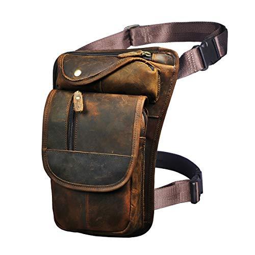 Le'aokuu Mens Leather Travel Messenger Bag Motorcycle Fanny Belt Waist Bag Pack Pouch Drop Leg Bag (3112 Brown)