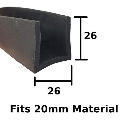 Carré Edge U Section EPDM Garniture Edge de protection de voiture en caoutchouc Noir 26 mm x 26 mm Compatible avec 20 mm
