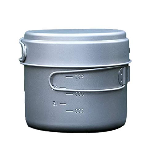 Thuis Grote Pols Camping Koken Sets Draagbare Camping Pot en Gezonde Pure Titanium Pan Outdoor Pot Set Wandelen Outdoor Kookgerei 2-5 Mensen Decoratieve Hotel Retro Soep Bowl 4.7 * 3.9IN ZILVER