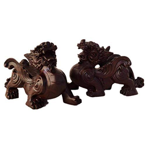 Chinesische Feng Shui Schwarz und Ebenholz Pi Xiu/Pi Yao Statuen, mit Wing Traditions Figuren Sammlerstücke Skulpturen...