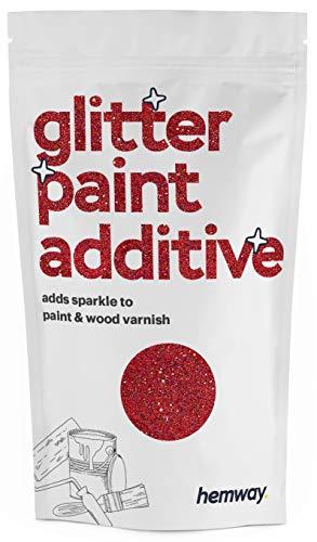 Hemway Glitzerlackzusatz Mischfarben auf Wasserbasis für Wand Decke - 100g - Rot