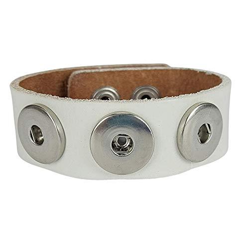 Sunsa Damen Click Buttons Leder Armband für Frauen/Herren/Mädchen Schmuck Boho Style Armreif für Druckknöpfe Chunks beste Geschenke für Freundin/Mama/Partner/Geburtstag. Weiß 70208 (24)
