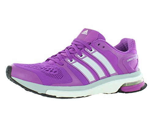 adidas Adistar Boost ESM Womens Running Shoe, Flash Pink/Zero Metal/Clear Grey, 10