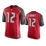 Camiseta de los hombres Uniforme de Fútbol Americano Tampa Bay Buccaneers #12 Brady Fútbol Jerseys Gruby Tee Camisetas Rojo