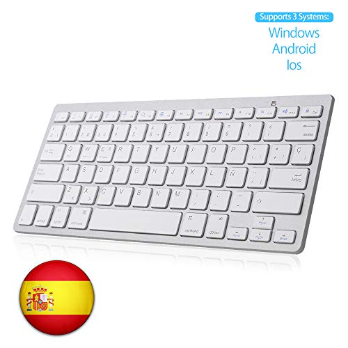 SENGBIRCH Teclado Bluetooth Español, Light Teclado Inalámbrico Portátil para iPhone de iOS, iPad, Samsung, Huawei,...